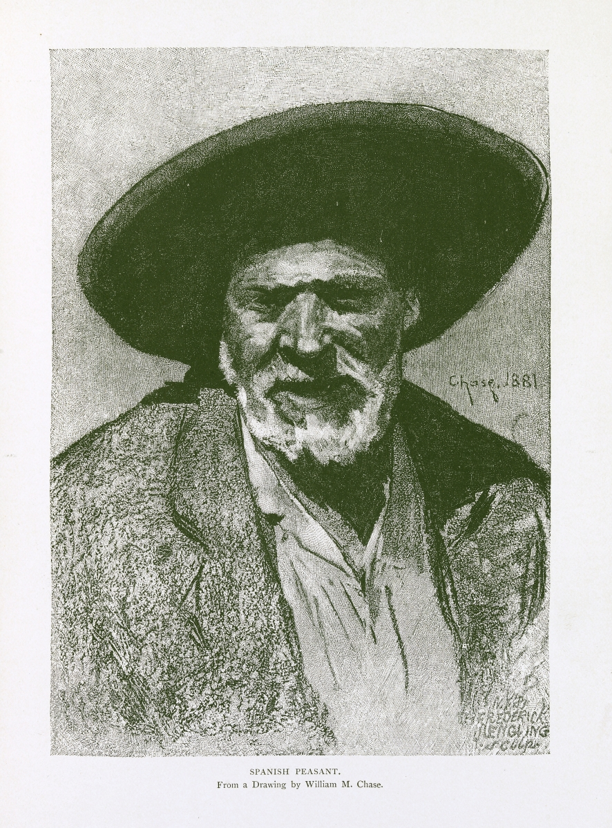 """""""Spanish Peasant"""" by Frederick Juengling (American, b Germany, 1846-1889) after William Merritt Chase (American, 1856-1925), 1881. Wood engraving in George Parsons Lathrop, Spanish Vistas, New York, Harper's, 1883. Jean Outland Chrysler Library, Chrysler Museum of Art."""