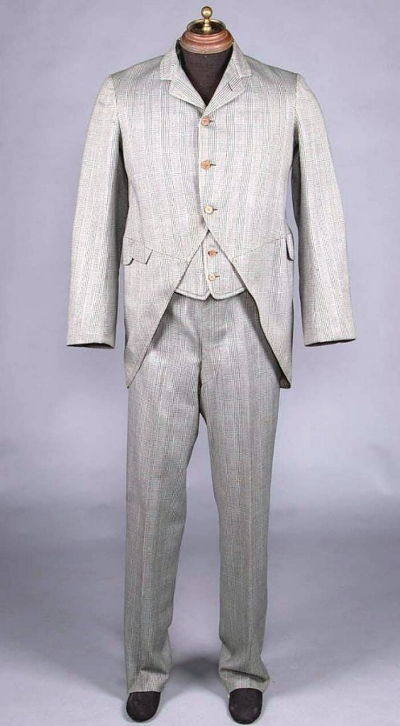 In men's fashion was this three-piece plaid suit, circa 1900, that brought $2,340 above a $500 estimate.