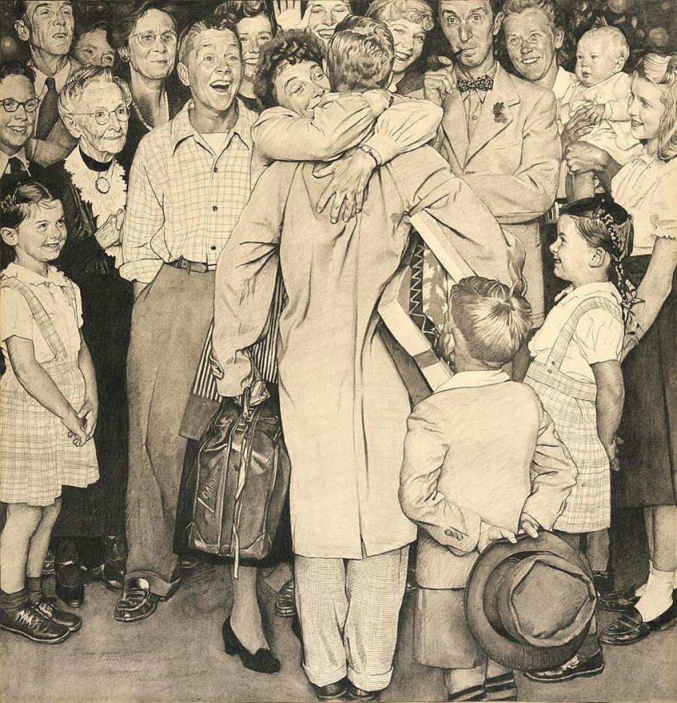 """The 1948 charcoal and pencil on paper drawing """"Christmas Homecoming, 1948"""" by Norman Rockwell was $1.1 million at Jonathan Boos, New York City. It is preliminary to a painting of the same name, now at the Norman Rockwell Museum and published on the cover of The Saturday Evening Post on December 25, 1948. All five members of Rockwell's immediate family are depicted."""