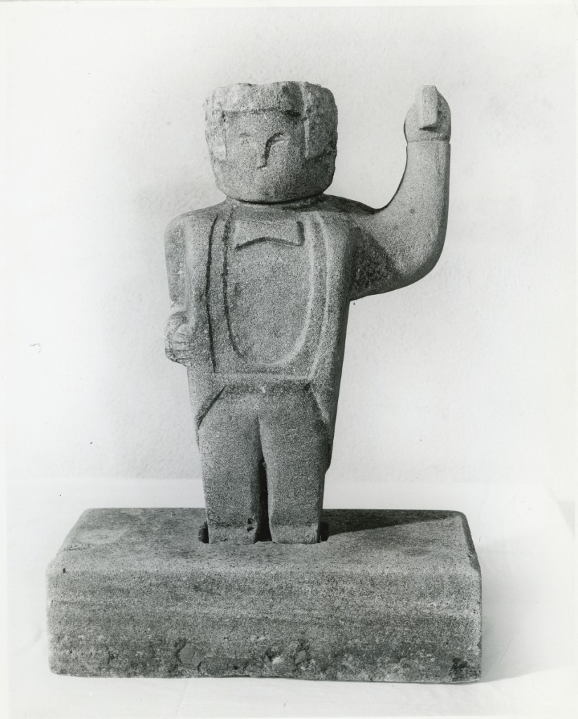 A work by William Edmondson featured in the 1965 exhibition of his work at The Museum of Early American Folk Arts. This was the first solo artist exhibition organized by Bert Hemphill Jr for the museum. Photo courtesy of the American Folk Art Museum.
