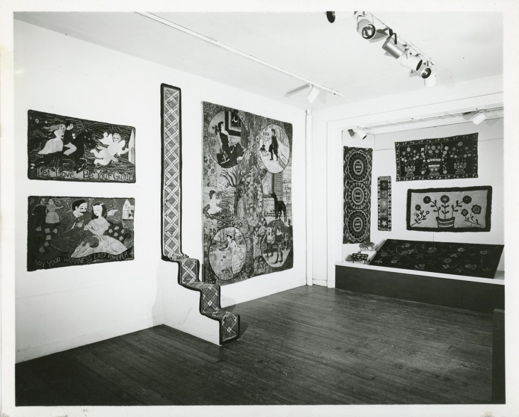 """Installation shot of the 1967 exhibition """"American Needlework."""" Photo courtesy of the American Folk Art Museum."""
