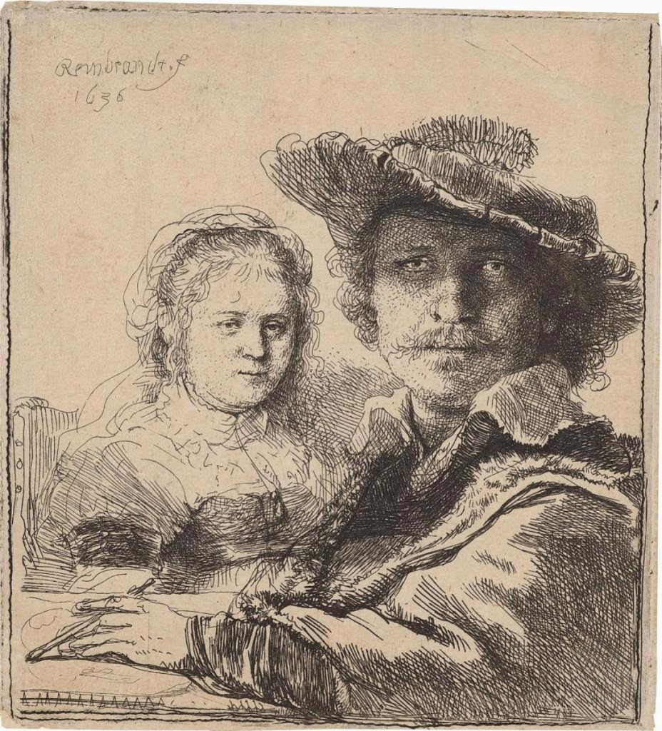Rembrandt's tiny print of himself with his beloved wife, Saskia, sold to a private collector at Hill-Stone, Inc. The 1636 etching is from the first of three printings.