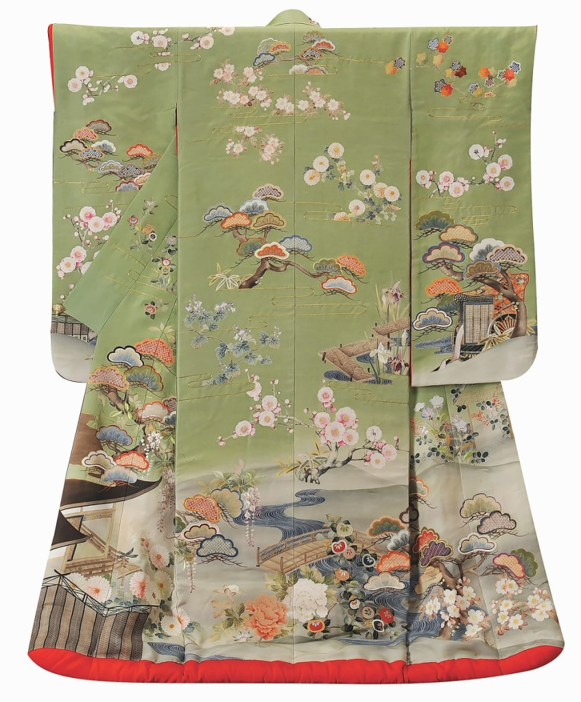 """""""Uchikake with Palace Garden Design, Made for Iida Taka, the thirteenth, Madame Nishimura,"""" by Chiso Co., Ltd, 1913. Yuzen-dyeing and embroidery on woven silk."""