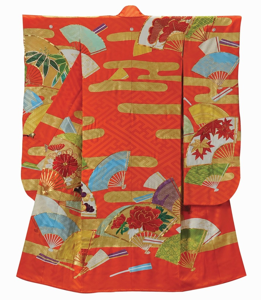 """""""Furisode with Mist and Fan Design, Made for Kawakami Masako, the fifteenth Madame Nishimura"""" by Chiso Co., Ltd, 1971. Embroidery and gold leaf on woven silk."""