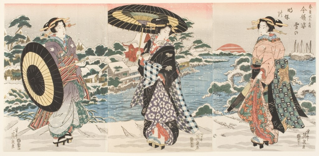 """""""Modern Figures on a Snowy Day"""" by Keisai Eisen (1790-1848), early to mid-1820s, from the series """"The Four Seasons,"""" published by Sanoya Kihei. Color woodblock print with graduated colors (bokashi) and blind-printing (karazuri). John Chandler Bancroft Collection."""
