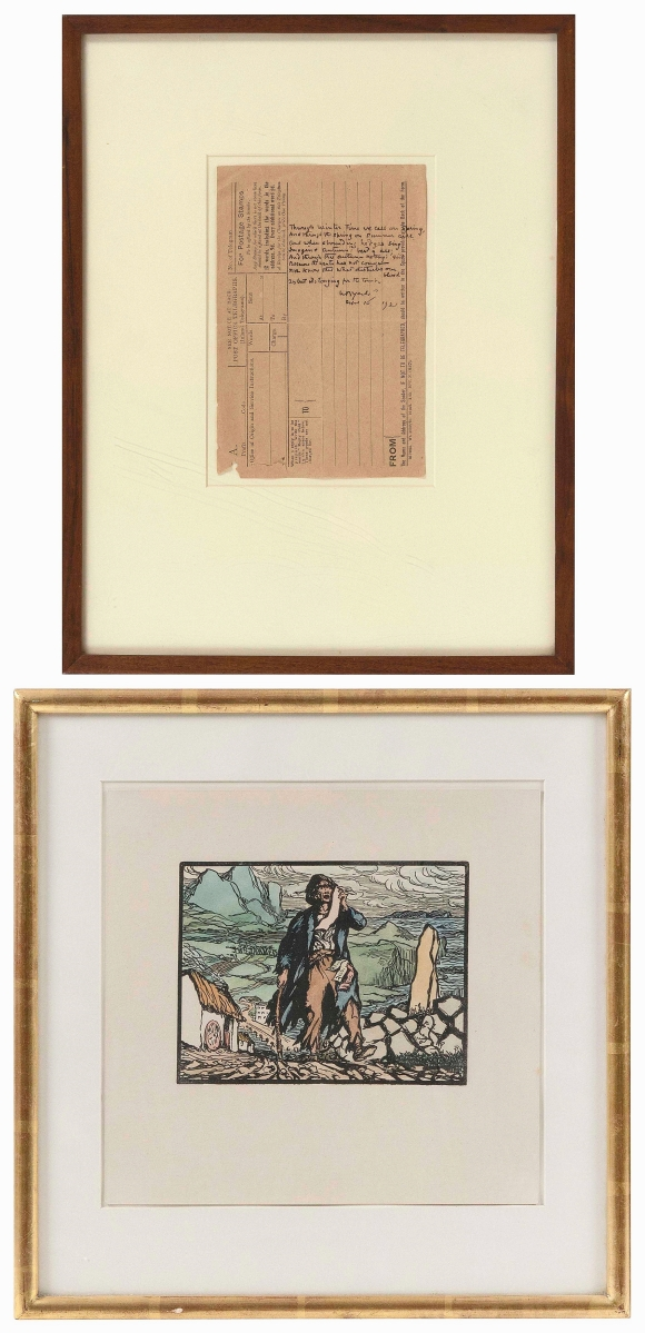"""Two framed works by Irish artist and poet Jack Butler Yeats (1871-1957) topped the sale. """"The New Ballad Singer,"""" a hand colored Cuala press print, and the 1921 handwritten poem """"Through Winter Time We Call on Spring ..."""" had come from a Provincetown, Mass., estate but will be leaving the United States, having sold to an international buyer bidding online, for $5,313 ($200/300)."""