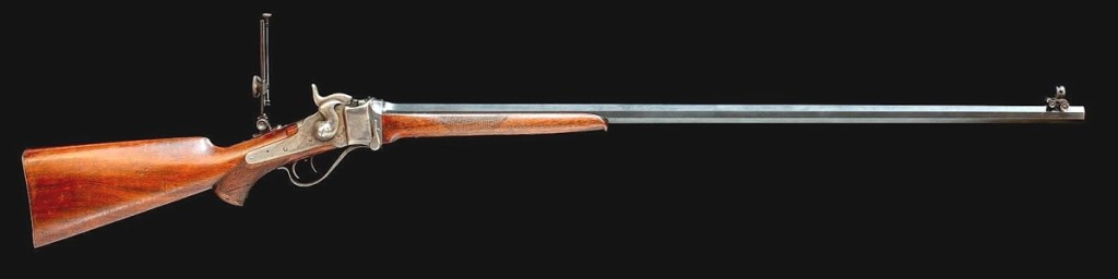 This was one of three Sharps Model 1874 No. 1 Creedmoor target rifles sold to Samuel Hauser for use in a shooting contest with his friend, Granville Stewart. Hauser was an early Montana pioneer, banker and miner in Helena and the first territorial governor of the Montana Territory in 1885. This rifle sold for $53,100.