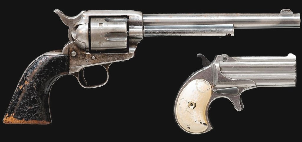 Used by Richard Boone as he played Paladin in the series Have Gun — Will Travel, this pair of pistols went out at $32,450. It featured a Colt single action and a Remington Deringer.