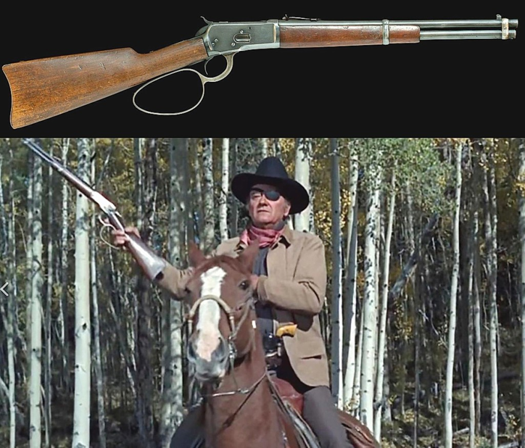 The top lot of the sale was held by the Winchester 1892 saddle ring carbine used by John Wayne in True Grit and its sequel Rooster Cogburn. The barrel was shortened so that Wayne could flip the carbine one-handed. It sold for $88,500.