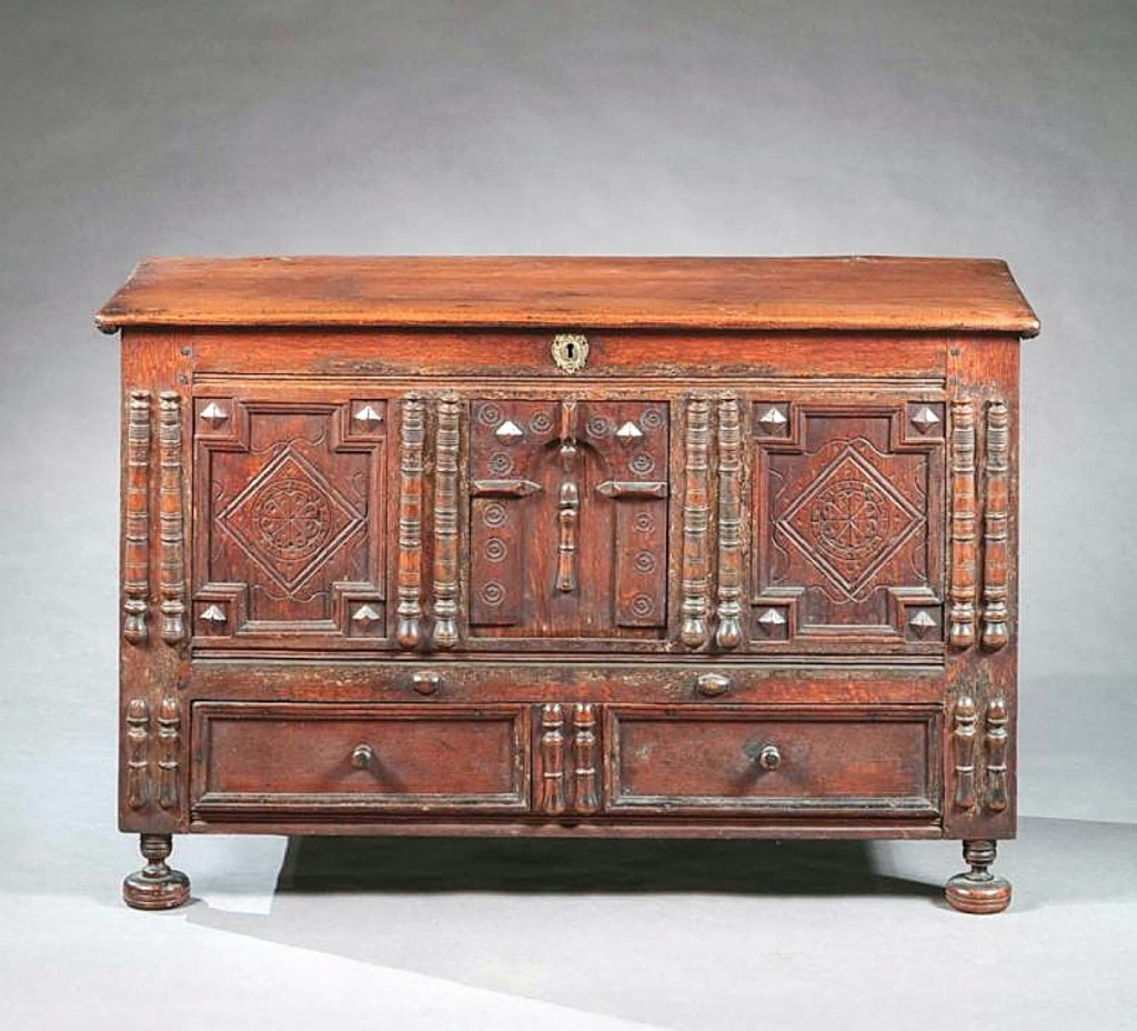 This late Seventeenth Century spindle-decorated lift-top chest with drawer from what is now Warren, R.I., is illustrated in Art and Industry in Early America; Rhode Island Furniture, 1650-1830 by Patricia Kane et al and was a new acquisition for Bernard & S. Dean Levy Galleries.