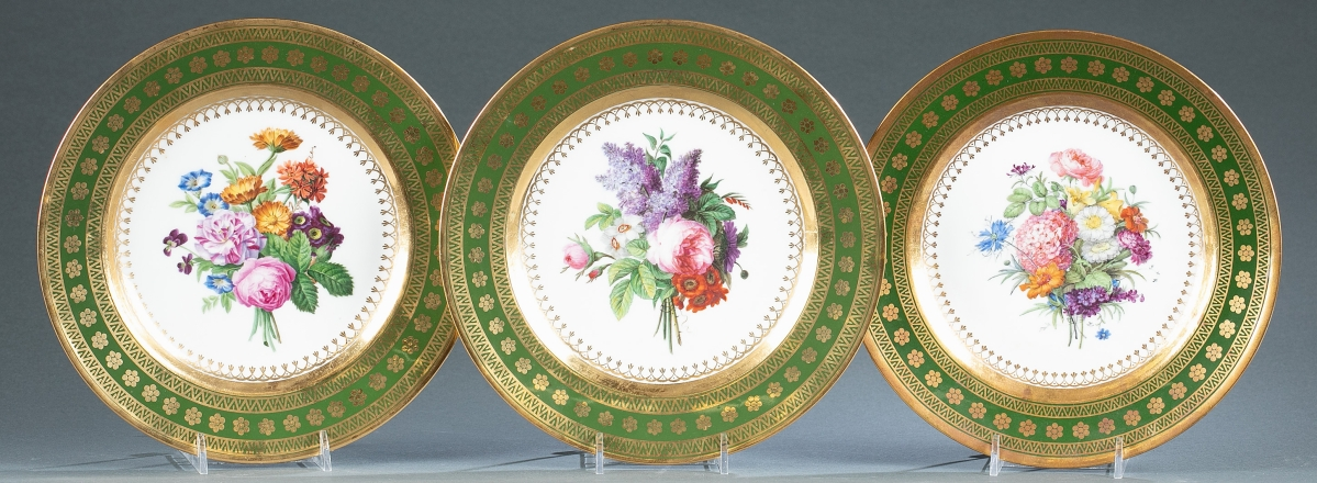 The Beveridge estate contributed this group of three Sevres cabinet plates with green and gilt border and central floral design that had descended in the family. The plates surpassed their $200/400 estimate to earn $31,750.
