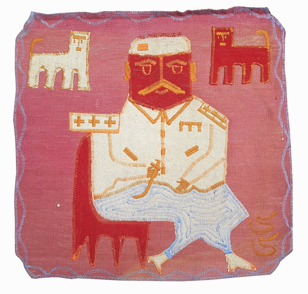 "Based in Tehran, Iran, the Outsider Inn Gallery is the only gallery dedicated to Art Brut and self-taught artists in the country, it says. Alireza Asbahi Sisi (b 1969), aka CC, began working in clothes manufacturing after the fifth grade following his father's death. When he was 35, he began selling carpets at a bazaar. Now he works as a driver while creating ""kilim-arts,"" which encompasses the work here, an untitled sewing and collage on carpet."