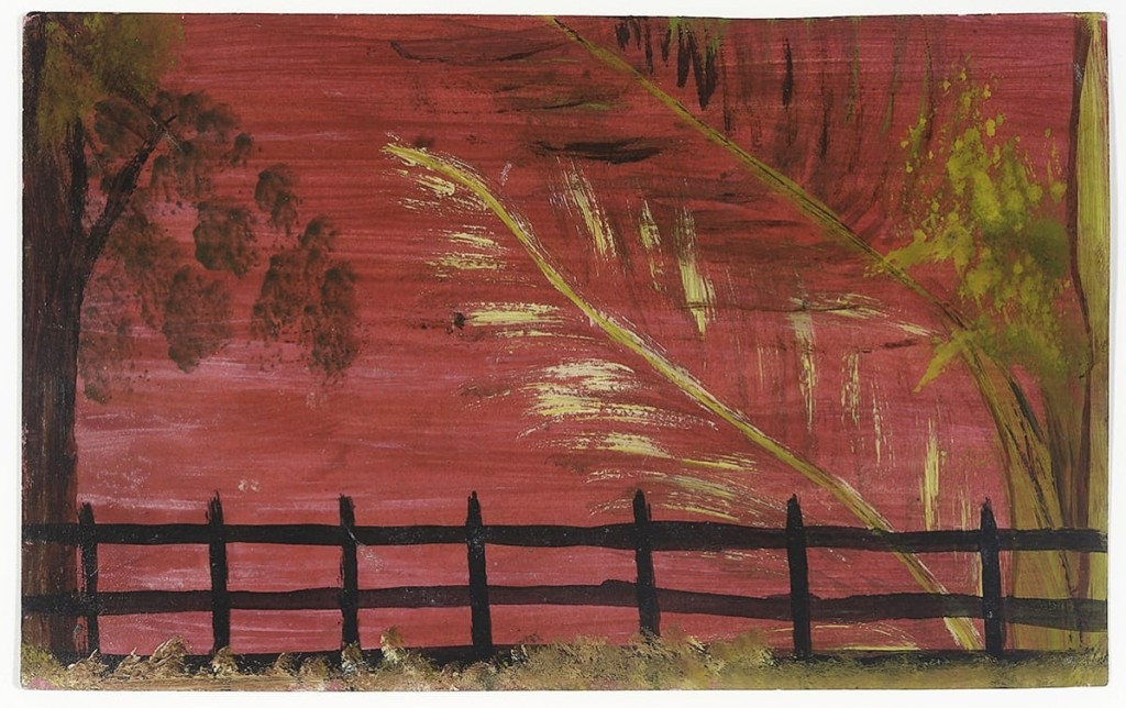 Hirschl & Adler had success with selling the Antiguan artist Frank Walter. This is one of two works featured in the gallery's viewing rooms centered on a picket fence landscape. This example with a red sky, the other with a dark blue night sky. Oil on photographic paper, 5 by 8 inches.