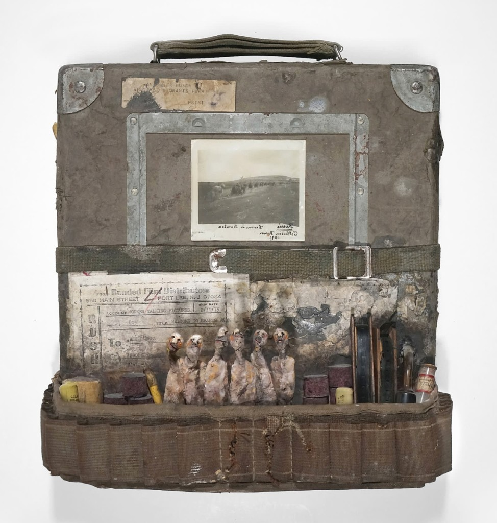 "French born assemblage artist Gerard Cambon (b 1960) was on show with Koelsch Gallery. ""Cinema,"" mixed media, 13 inches high."