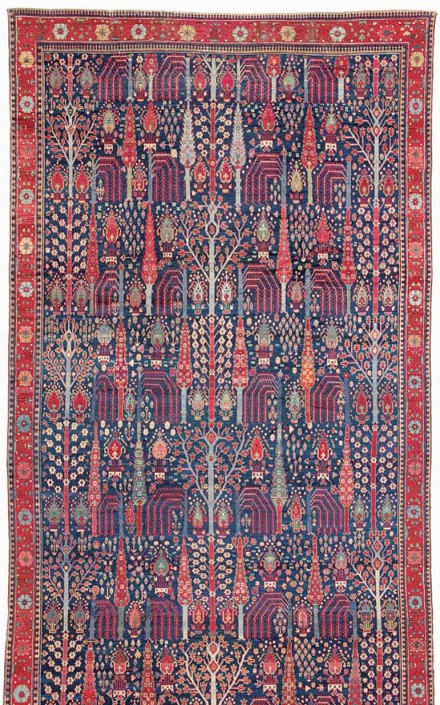 """Described as """"a masterpiece of Persian weaving from the post-classical period,"""" this late Eighteenth Century carpet measures roughly 29 by 10½ feet and was $220,000 at Peter Pap Oriental Rugs, Dublin, N.H., and San Francisco."""