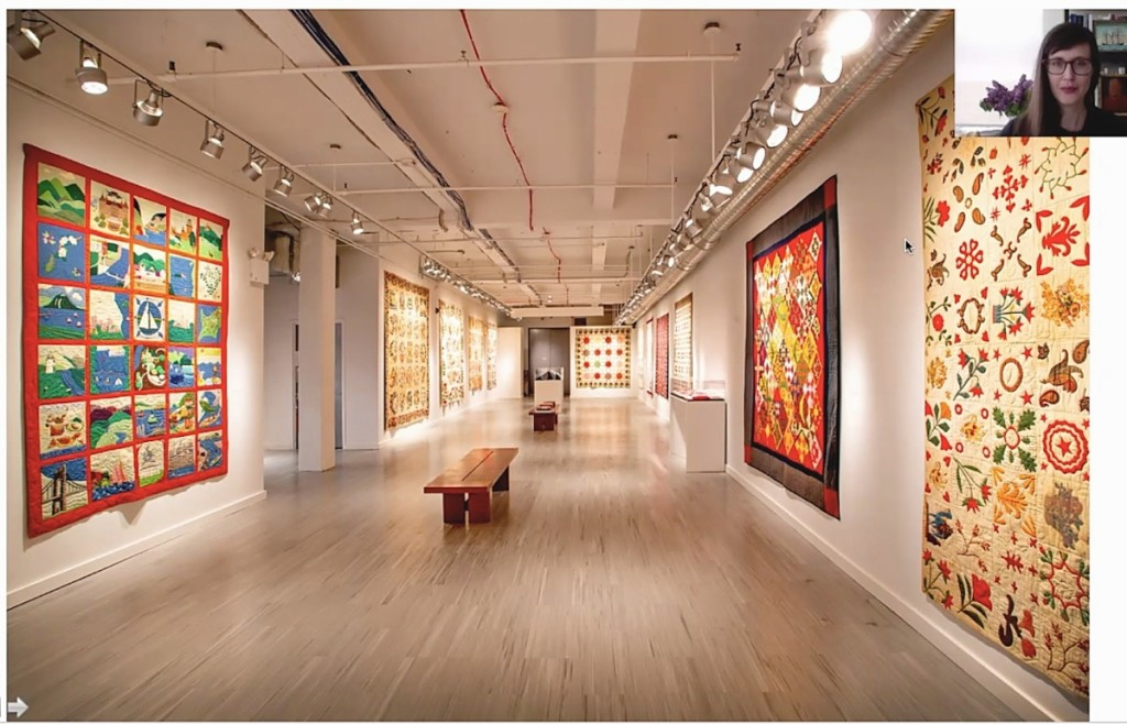 """Curator of folk art Emelie Gevalt led viewers through a virtual tour of """"Signature Styles: Friendship, Album, and Fundraising Quilts."""""""