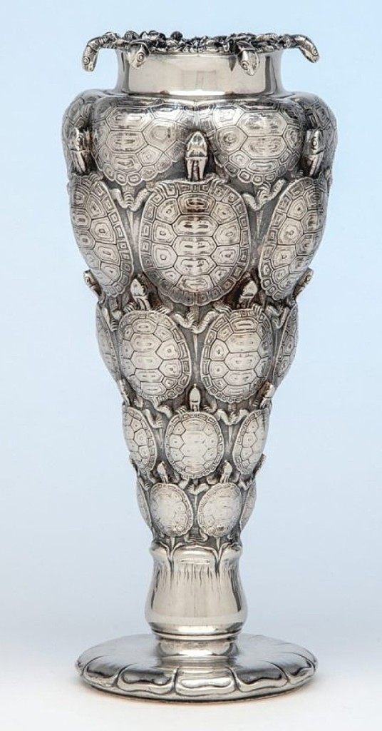 Spencer Marks sold to a private collector the silver and copper Terrapin vase, a unique Tiffany & Company piece exhibited at the 1893 Chicago World's Columbian Exposition, where the company also featured related Snail and Owl vases. The whereabouts of the Terrapin vase was unknown by Tiffany scholar John Loring as recently as 2000.
