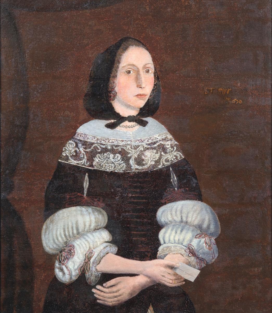 """Artist unknown, """"Rebecca Rawson,"""" Boston, 1670, oil on canvas, gift of Reuben Rawson Dodge, 1884, accession No. R0017"""
