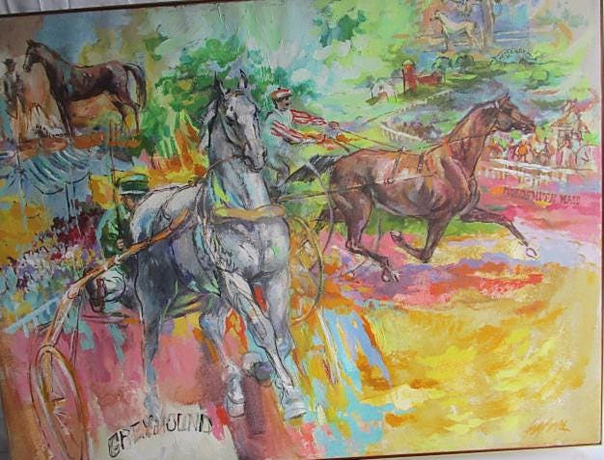 """""""History of the Standardbred  ,"""" an homage to the historical greats in the category, including Messenger (1780), the """"founding father"""" of the standardbred horse, 36 by 48 inches, fetched $826."""
