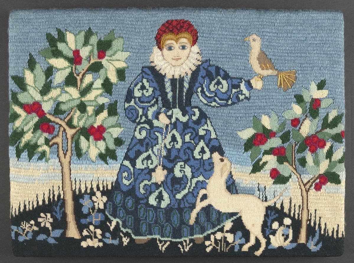 """""""Elizabethan Lady,"""" circa 1973. Wilson used versions of this design to introduce chapters on crewelwork, blackwork and needlepoint in Erica Wilson's Embroidery Book, published in 1973. Winterthur Museum, Gift of The Family of Erica Wilson, 2015.047.005.002."""