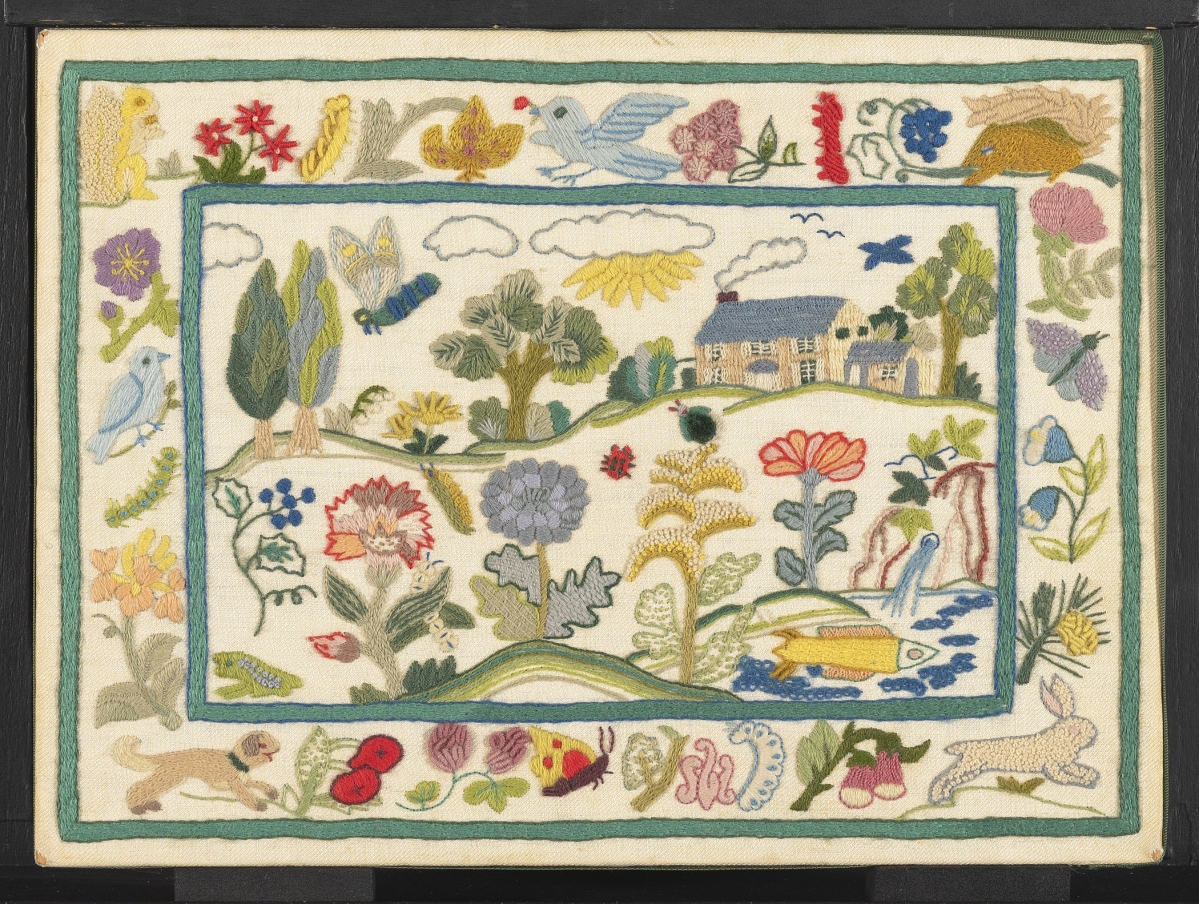 """""""Country Life,"""" one of Wilson's perennially popular designs, was introduced as part of her line of Custom Kits in 1971. Over time, the motifs showed minor variations. Wilson got her inspiration from an embroidered picture in London's Victoria and Albert Museum. The original kit used 50 colors and 30 different stitches. Winterthur Museum, Gift of The Family of Erica Wilson, 2015.0047.016.001A."""