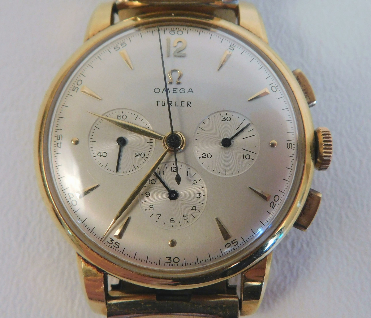 """This Omega 18K gold chronometer Turler wristwatch was made in the late 1940s, was engraved """"Selden James Dickinson"""" and came from a Nantucket, Mass., estate. A collector in St Petersburg, Fla., took it for $6,100 ($ ,000)."""