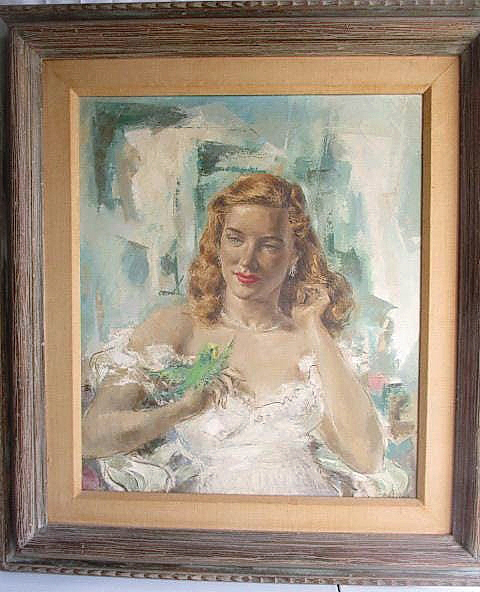 A total of 19 bids took an untitled painting of a woman in a white dress with what looks to be a green parakeet either landing or preparing to fly away from her right hand to $1,003.