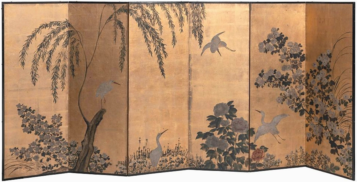 Topping Japanese works of art in any of the three sessions of sales was this Meiji period six-panel screen, depicting cranes in a landscape in ink, color and gold leaf. It flew to $7,500 where it was bagged by a private collector in New York City who was bidding by phone ($ ,000).