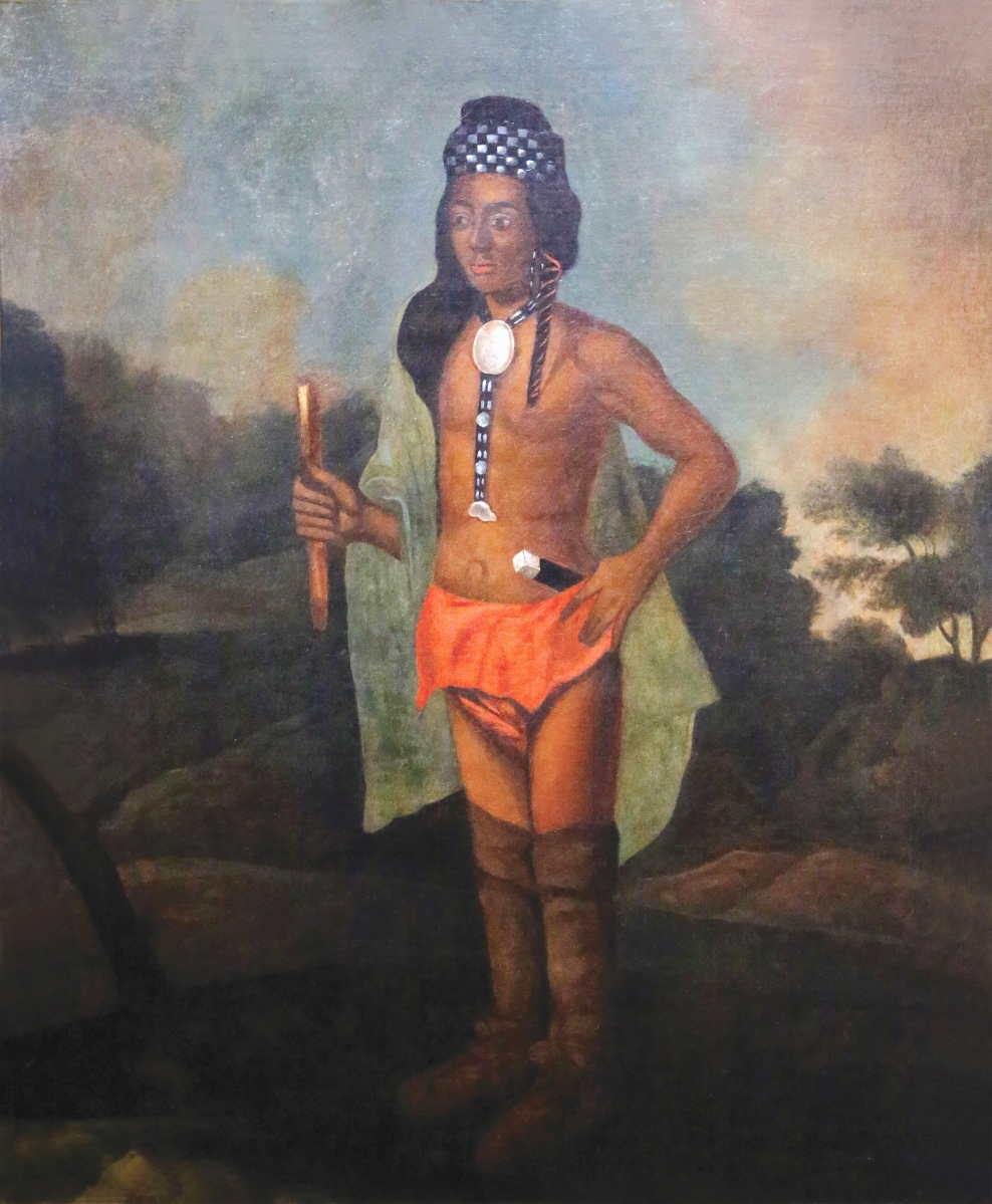"""Artist unknown, """"Native American Sachem (Possibly Ninigret II),"""" New England, circa 1890-1910, oil on canvas, New England Historic Genealogical Society purchase, 2014, accession No. 2014-177. Claire Vail photo."""