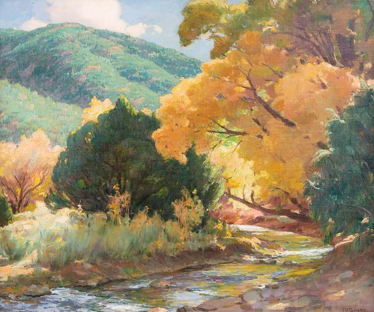 """Tying for the top lot was Joseph Henry Sharp's (1859-1953) """"Taos Landscape,"""" a 30-by-36-inch oil on canvas that sold for $64,900. Ron Nicklas commented that both the size and the river flowing through it added to the importance of the work."""