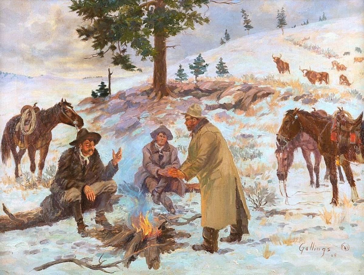 """At $56,050, Elling """"Bill"""" Gollings' (1878-1932) """"The Line Riders"""" went beyond its $40,000 high estimate. The work was a book example, published in Elling William """"Bill"""" Gollings; A Cowboy Artist."""