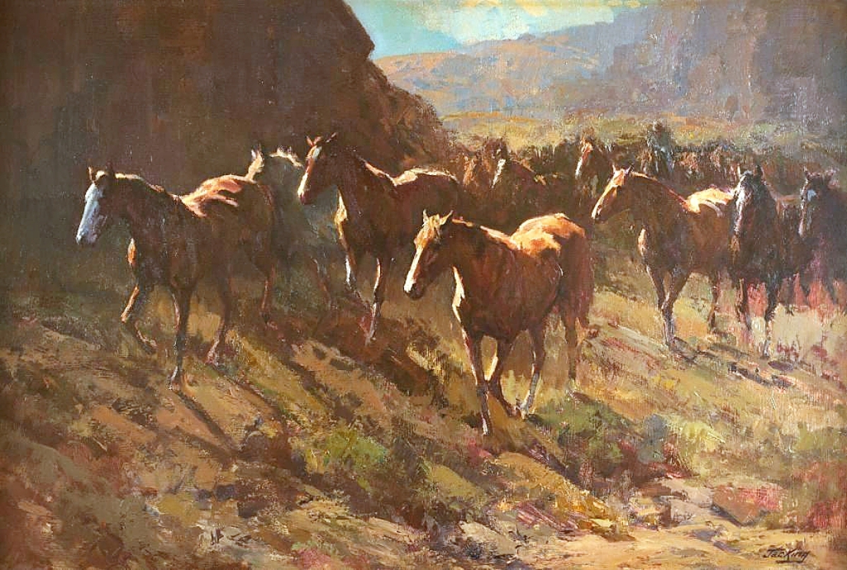 """An auction record for California artist Jack King (1920-1998) was established with """"Fresh Mounts,"""" a 24-by-36-inch oil on board that brought $38,350. When he retired in the 1970s, King took up painting full time and signed with a Calgary agent, pushing much of his work and market up to Canada. """"I think it will bring attention to an artist who has been forgotten in the States over the years,"""" Ron Nicklas said."""
