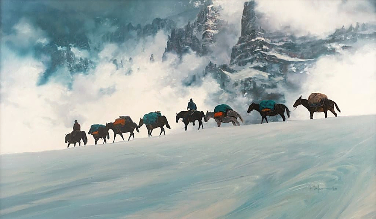 """Tied for the sale's top lot at $64,900 was Ty Barhaug's (b 1963) """"Pure Altitude,"""" a 21-by-36-inch oil on board. The result was a product of two buyers falling in love with the image. It had come from the estate of Washington collector Dale Popp, who purchased it at a 1999 CM Russell auction."""