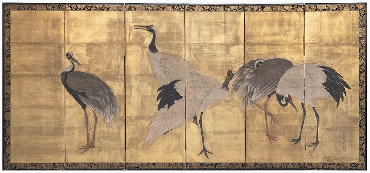 An online bidder from Michigan pushed interest in this Edo period Japanese six-panel screen with cranes to $6,875. It was from the Symmes/Shiro Kuma collection from Atlanta, Ga. ($1,5/2,500).