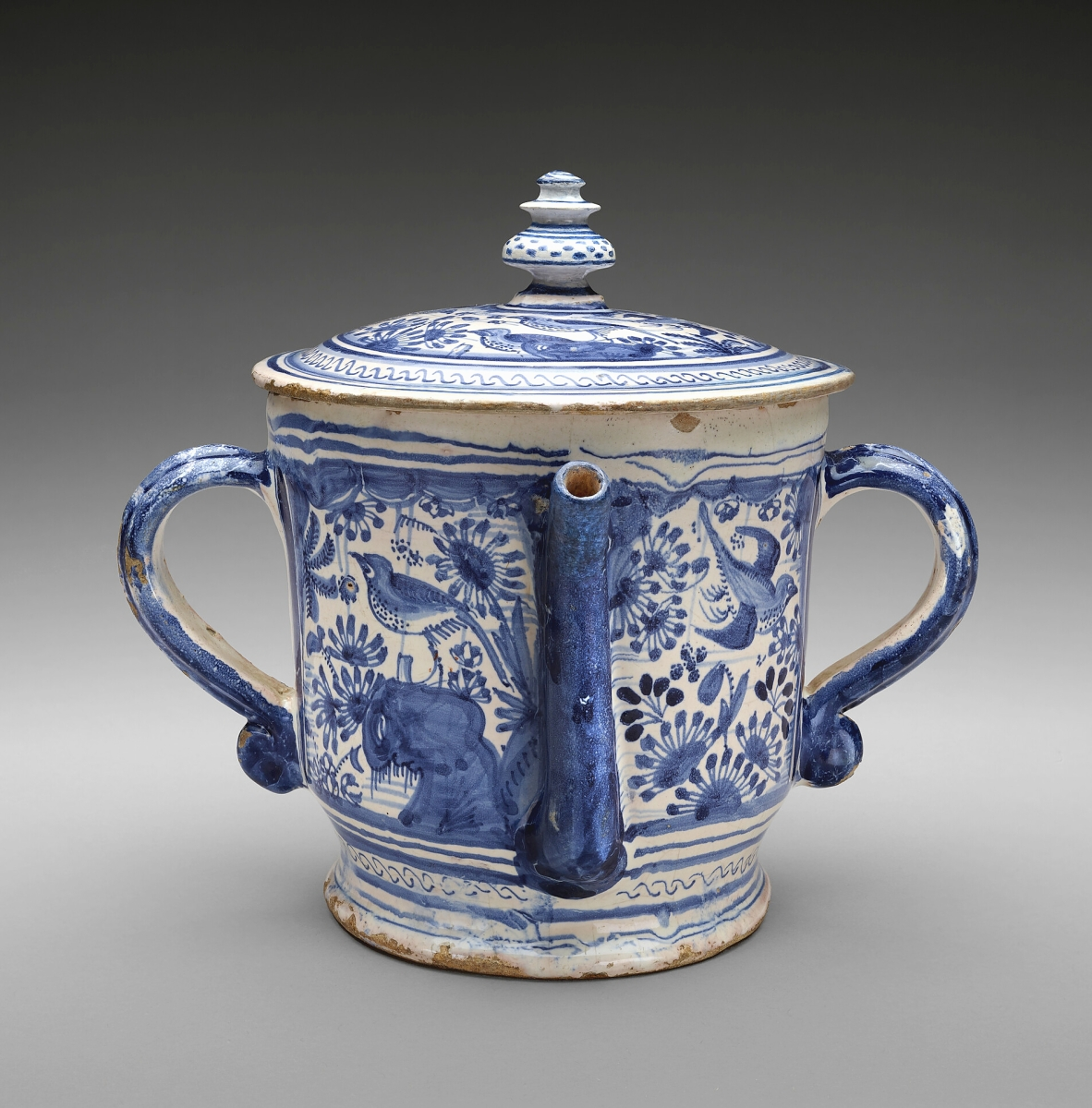 Posset pot, English, possibly Southwark Delftware, circa 1630-35. Tin-glazed earthenware. The Bayou Bend Collection, gift of Katharine Prentis Murphy.