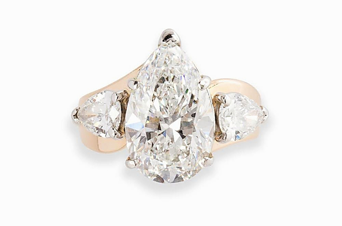 """""""The size and quality of the stone were exceptional,"""" Lauren Della Croce said of this 5.04-carat pear brilliant-cut diamond ring that earned the second highest price in the sale, selling to a phone bidder from the United States for $87,500 ($60/80,000)."""