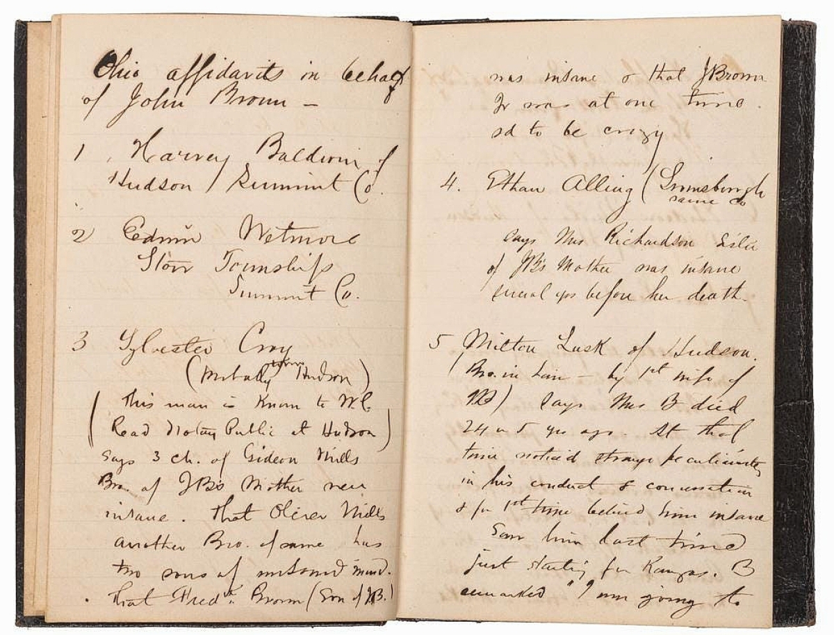 The sale's top lot was found in an archive that related to the life of abolitionist lawyer George H. Hoyt, who represented John Brown at his famed 1859 trial. The archive contained testimonials from Brown's neighbors and family, written in Hoyt's hand, that appeared to corroborate the insanity defense he attempted to mount for Brown. John Brown opposed this defense and Hoyt attempted another without any success, as Brown was found guilty and hanged for his assault on Harper's Ferry. The archive included letters from Hoyt's time serving in the Civil War as well as a notebook that contained press clippings from the trial. It sold for $43,750 to a private collector.
