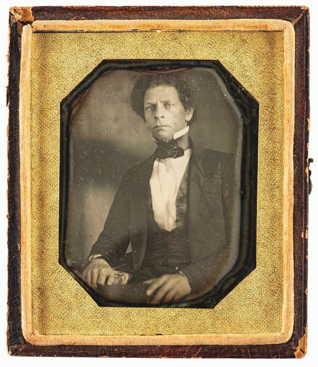 Horstman said this was likely the earliest photograph known of Joseph Jenkins Roberts (1809-1876), the first and seventh president of Liberia. Born free in the United States, Roberts departed for Liberia where he gained status as a merchant before entering the political realm. The sixth plate daguerreotype sold for $13,750.