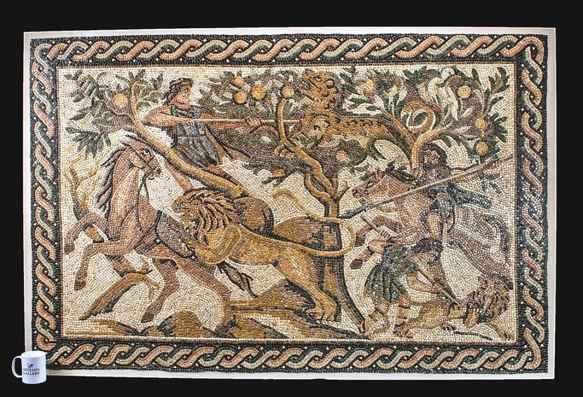 """The sale's top lot was a Roman mosaic that sold for $118,275. It measured 48½ by 74 inches and featured a scene of hunters about to spear two lions and a tiger. Noting its intricately small and detailed tessera, Bob Dodge said, """"Everything about that work was a masterpiece."""""""