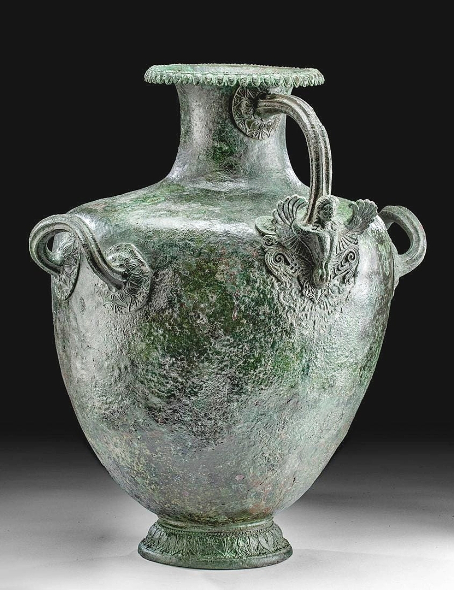 The Dodges pointed out the rarity of the siren-form handle on this Greek bronze hydria. This piece dated to the mid-Fifth Century BCE and was likely used in a funerary setting. It brought $51,668.