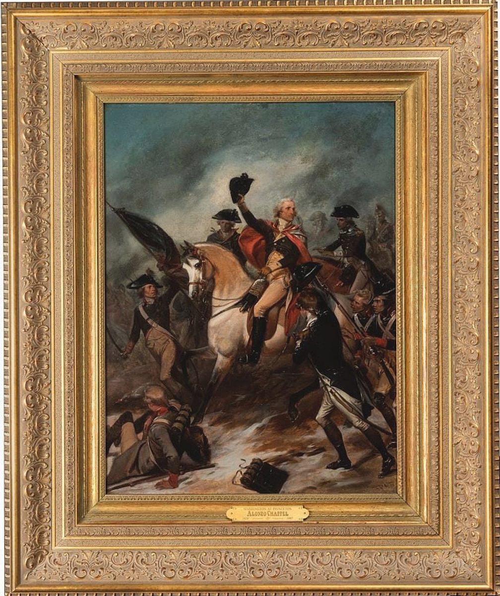 """The sale's top lot at $35,200 was """"George Washington at Princeton, 1777"""" by American artist Alonzo Chappel (1828-1887). Chappel completed the work 80 years after Washington took his stand at Princeton, a battle that would build morale among the Revolutionaries. The oil on canvas, 24 by 18 inches, came from the collection of Noel and Kathryn Dickinson Wadsworth."""