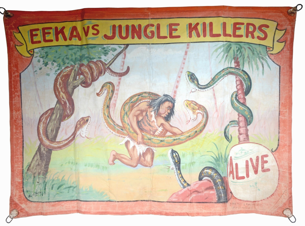 """Leading all sideshow banners in the sale was this example by the master of the medium, Fred Johnson. """"Eeka vs Jungle Killers"""" was an alluring image of danger and adventure. It measured 80 by 111 inches and sold for $6,875."""