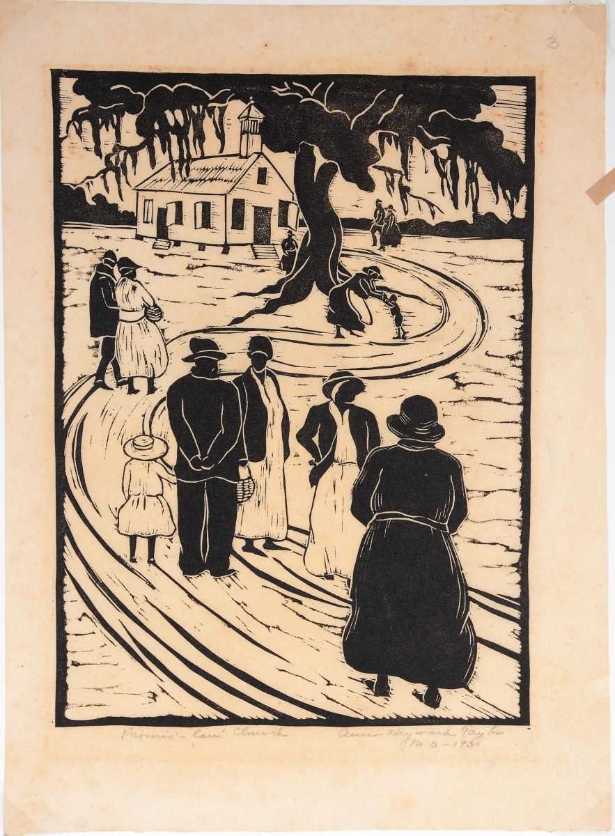 """A student of William Merritt Chase, Anna Heyward Taylor (1879-1956) became a leading figure of the Charleston Renaissance. """"Promis' Lan' Church,"""" a 1931 woodcut on paper, was executed not long after Taylor established her studio in Charleston. It brought $4,750."""