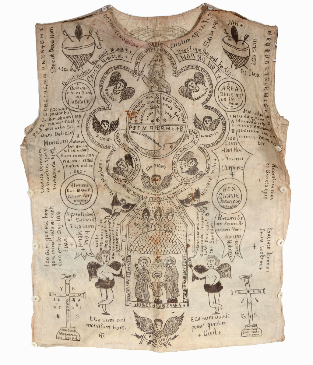 Selling for $8,750 was this religious vest with ink-drawn symbolism and Latin text. Slotin said it reminded him of flash art and was likely by a Hispanic artist.