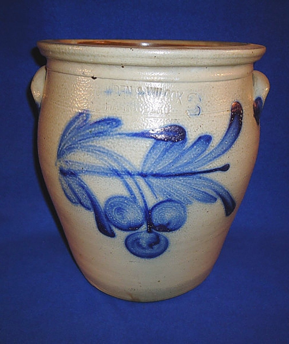Stoneware was a popular item at the show and Duane Watson of Doc's Crocks, Ashland, Ohio, sold this 3-gallon cream pot with cherry cluster decoration, made by Cowden & Wilcox, Harrisburg, Penn, between 1863 and 1880.