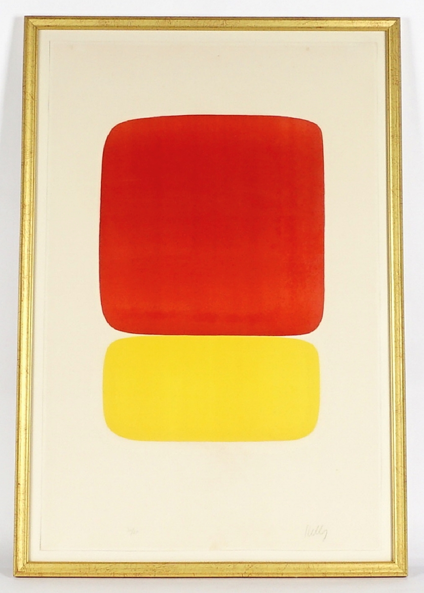 """Topping the fine art category was a lithograph by Ellsworth Kelly (American, 1923-2015), """"Red over Yellow,"""" which was bid to an above-estimate $12,980, likely setting a new record."""
