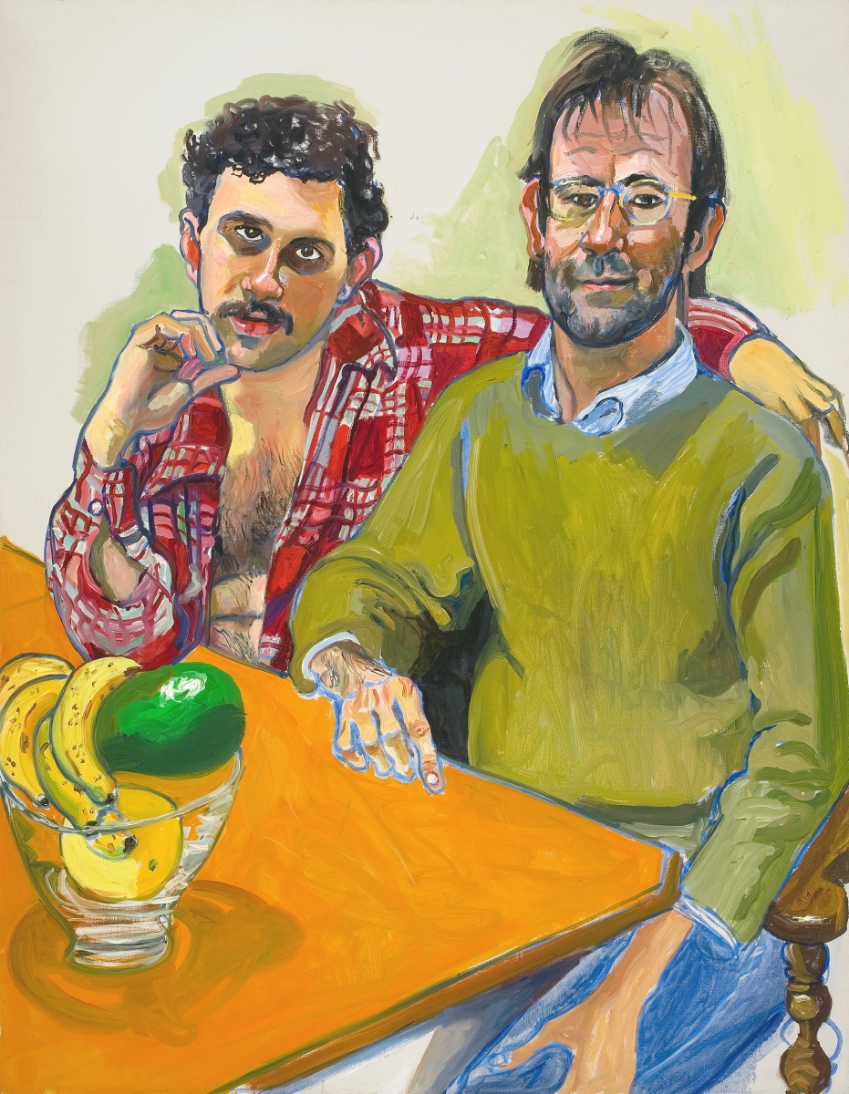 """Geoffrey Hendricks and Brian"" by Alice Neel, 1978. Oil on canvas. San Francisco Museum of Modern Art, Purchase, by exchange, through an anonymous gift. ©The Estate of Alice Neel."