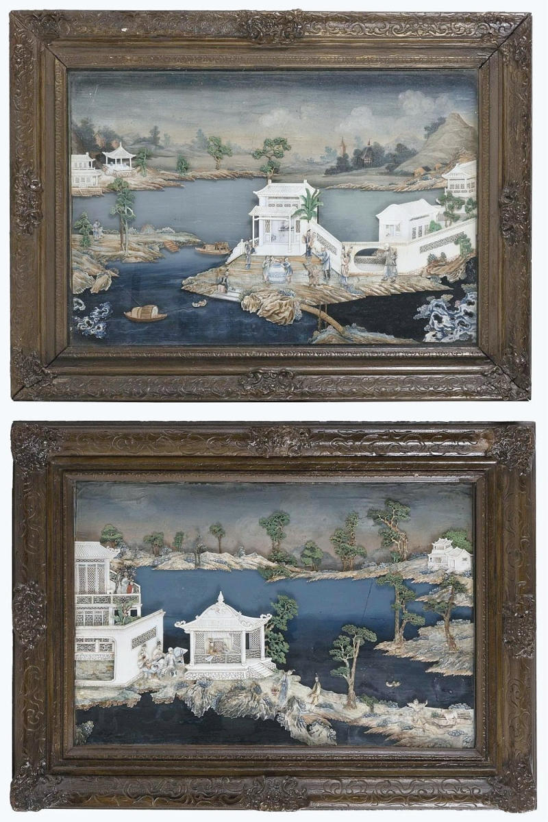 A pair of Qing dynasty Chinese painted ivory shadowbox panels realized the highest price of the three-day event, garnering $11,875 from a New York City phone bidder. The pair related to a single panel that had been offered in Hong Kong about three years ago ($10/15,000).