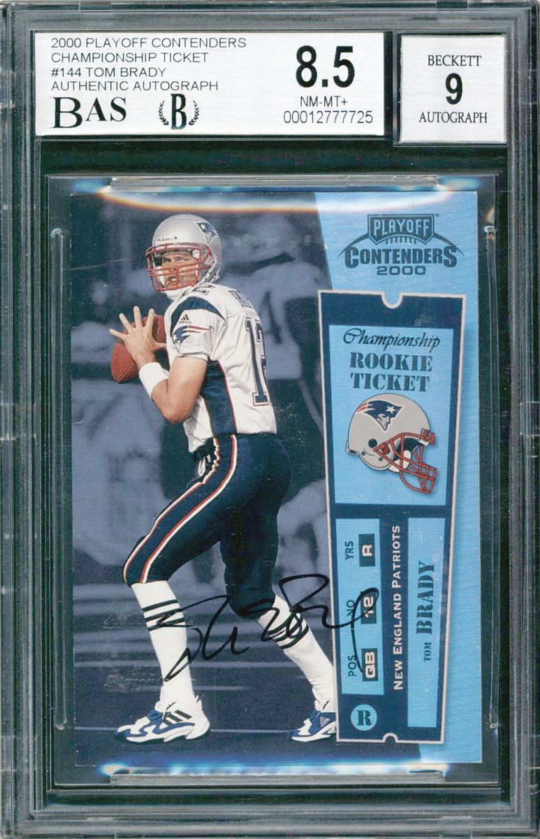 2000 Tom Brady Contender Card.  Currently the most   expensive football card ever sold at public auction.