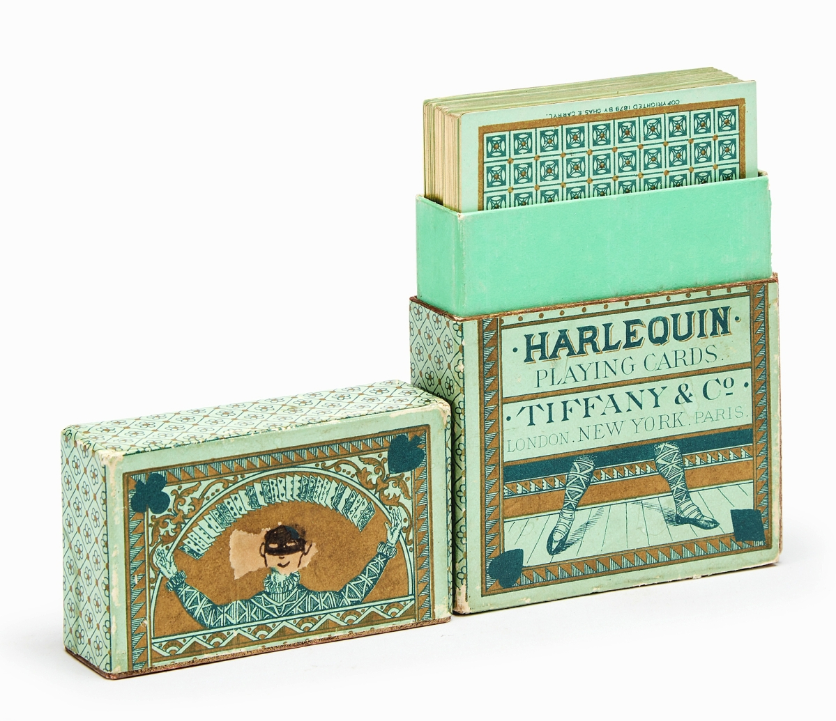 A complete deck of 52 chromolithograph transformation Harlequin playing cards, New York, Paris, London: Tiffany & Co., 1879, in their original printed box, appearing never to have been played with, was bid to $8,820, five times the high estimate.
